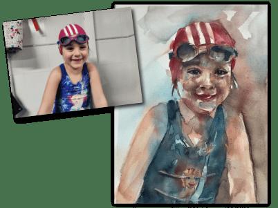 Composición acuarela foto de una niña lista para su primer dia de natación