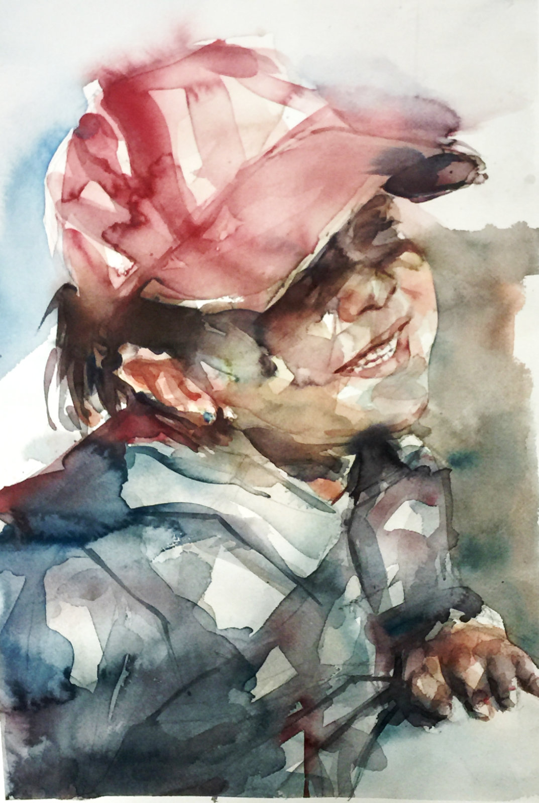 Acuarela de un niño con una gorra roja sonriendo