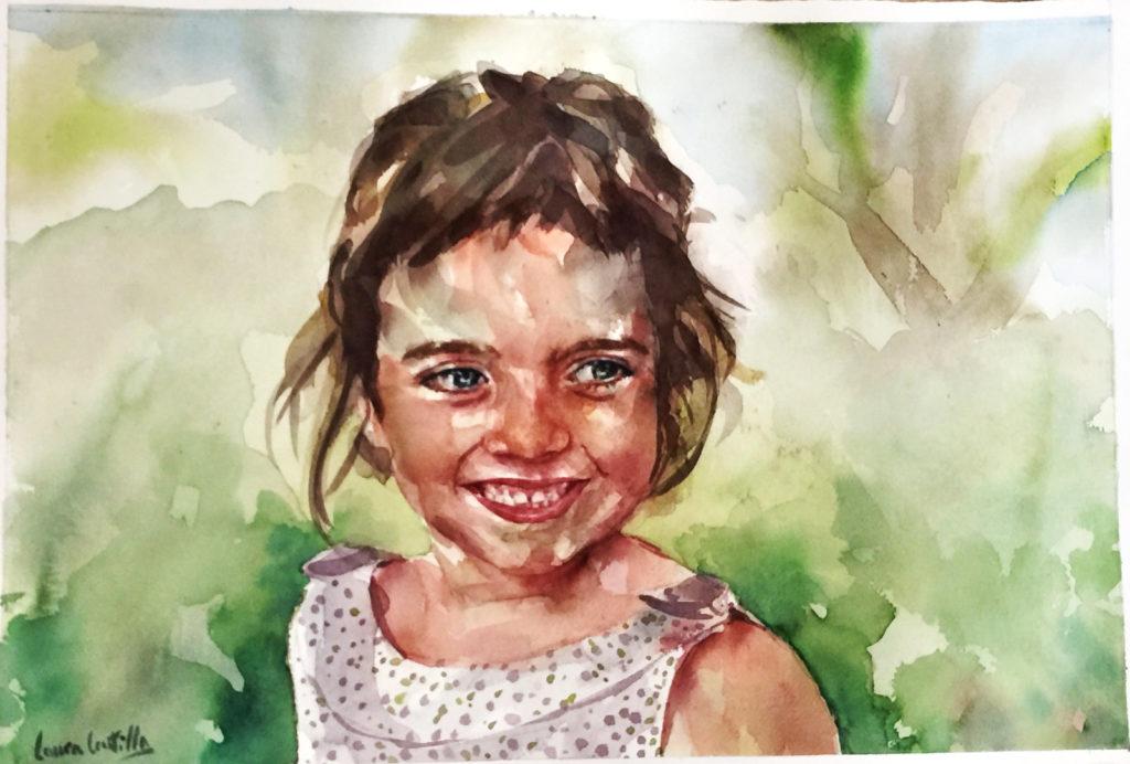 Acuarela de una niña sonriente