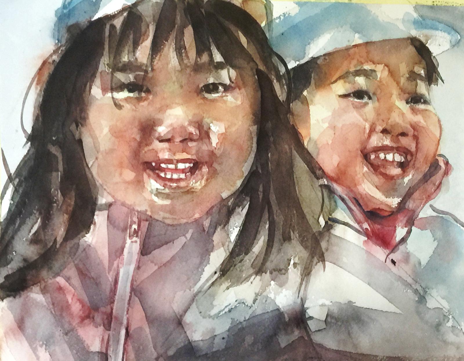Acuarela de dos niñas sonrientes asiaticas