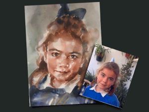 Acuarela de niña con lazo azul