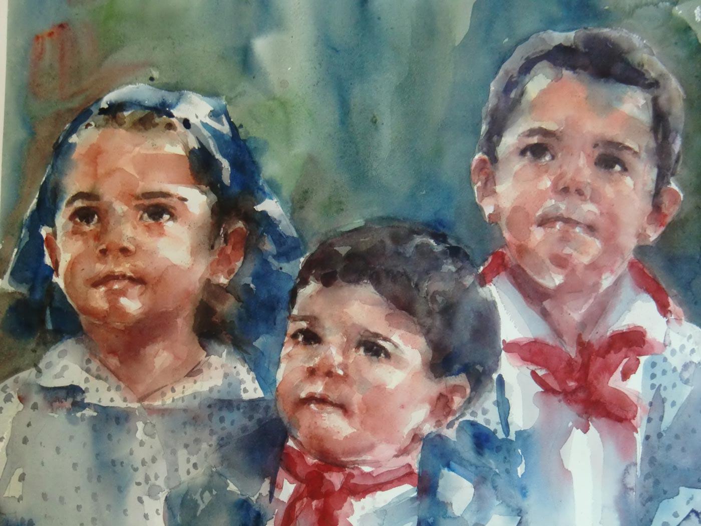 Acuarela de tres niños mirando arriba