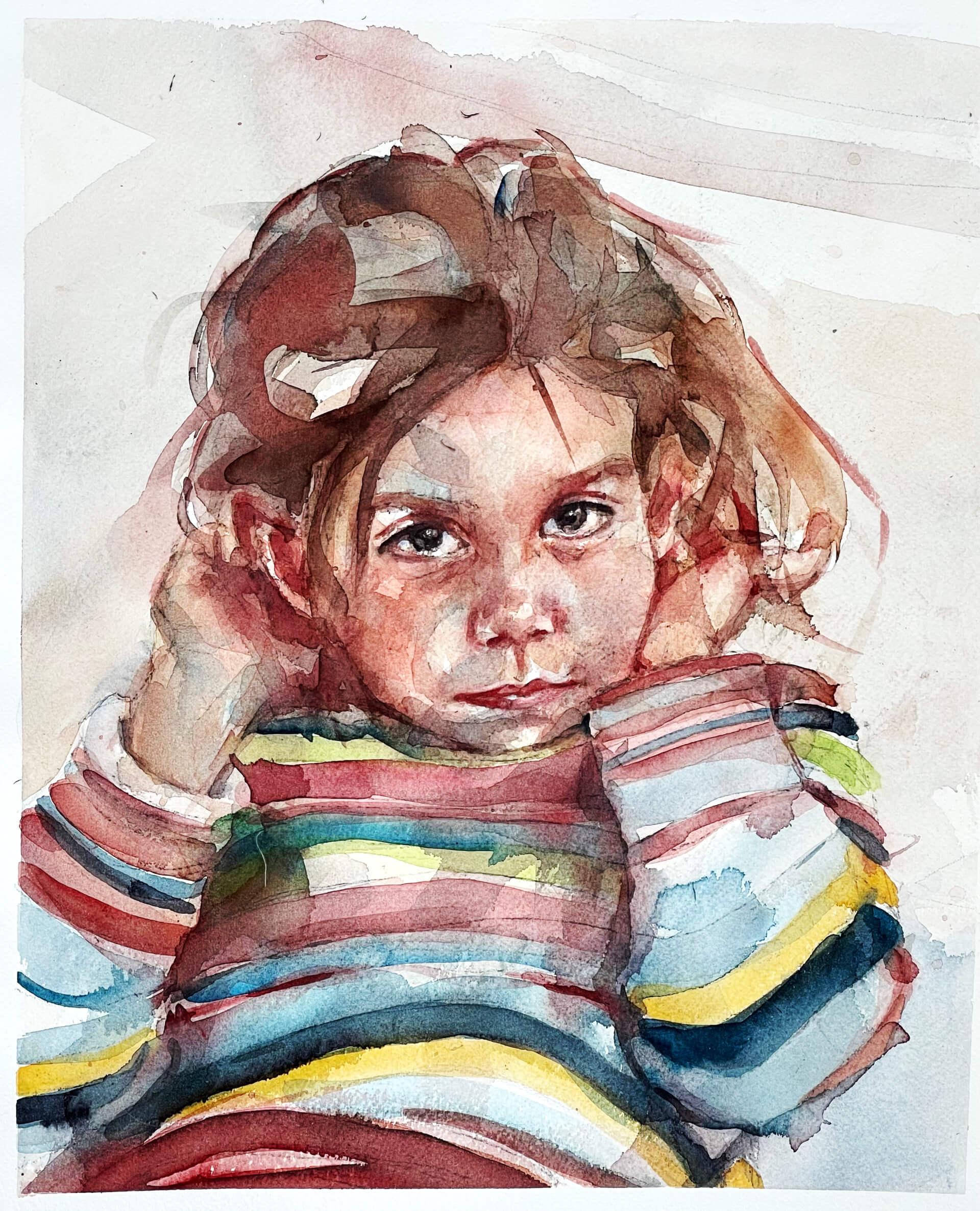 Acuarela de una niña con un jersey de colorines