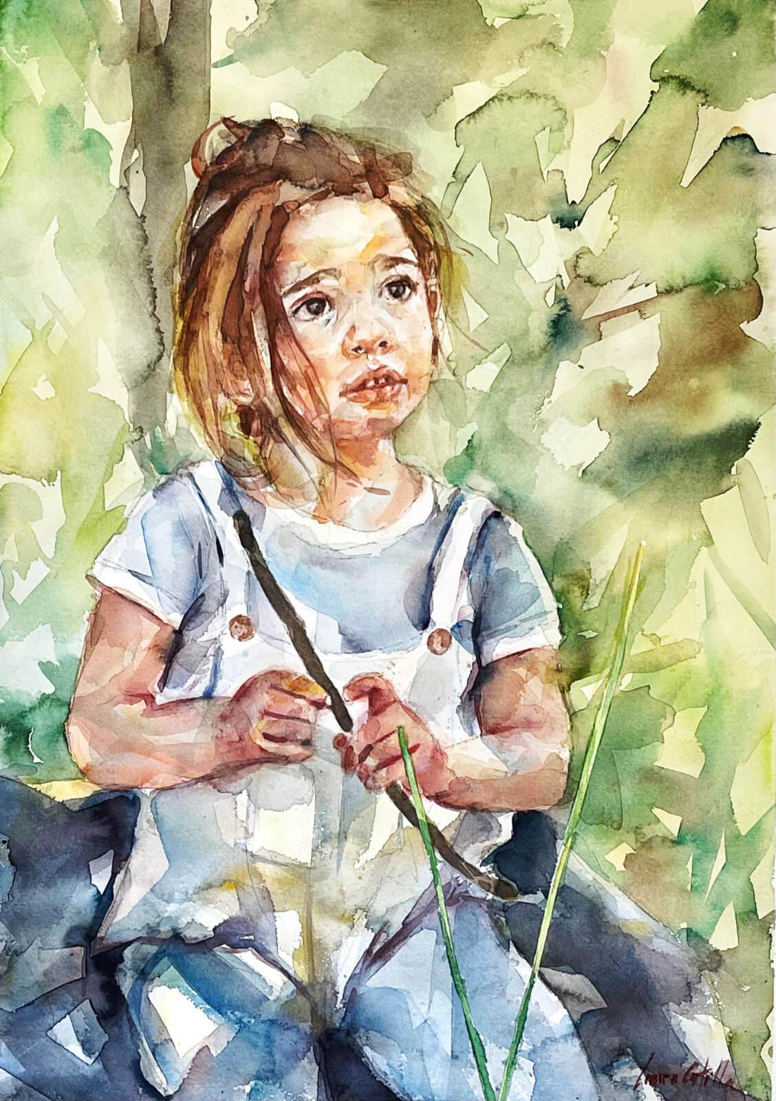 Acuarela de una niña