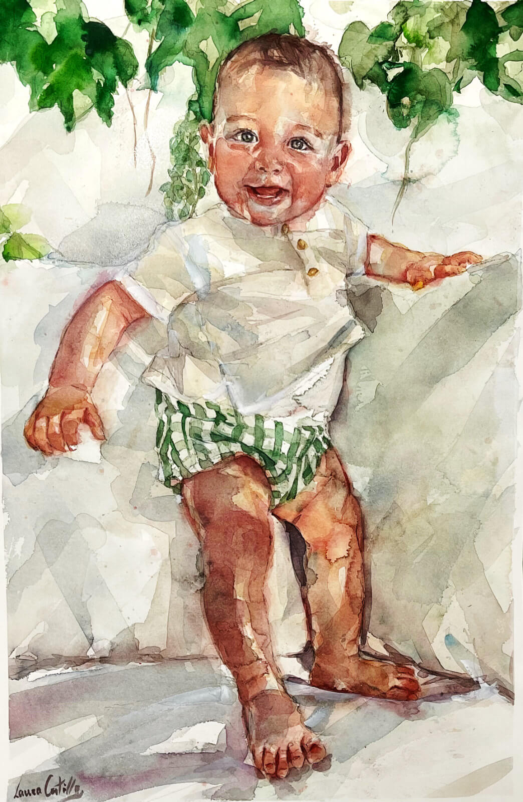 Acuarela de un niño de pie en un sofa