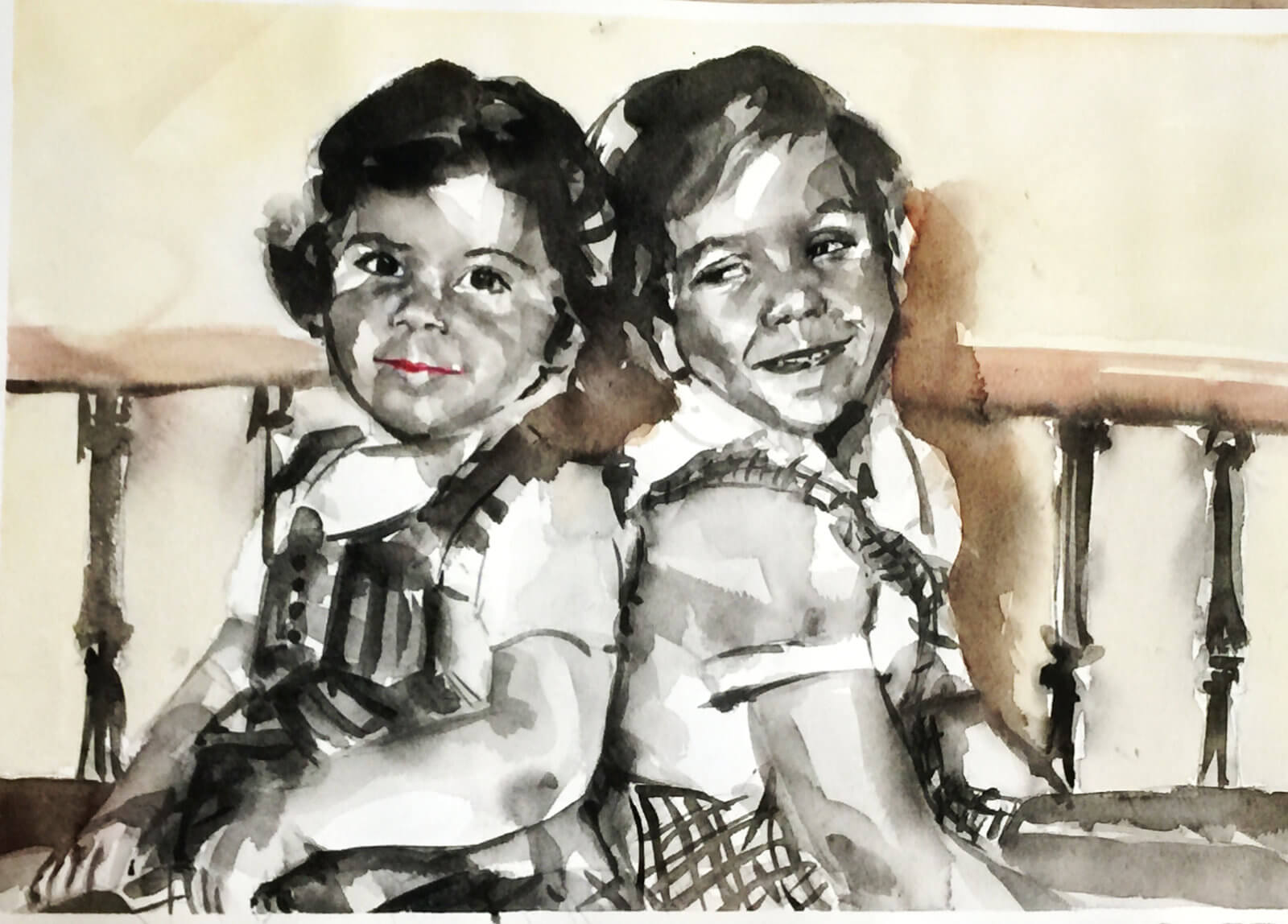 Acuarela de dos niñas en blanco y negro