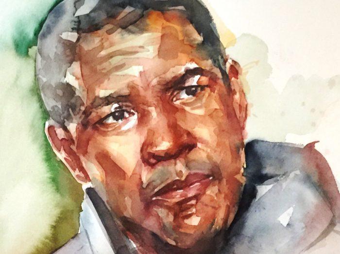Acuarela de Denzel Washington