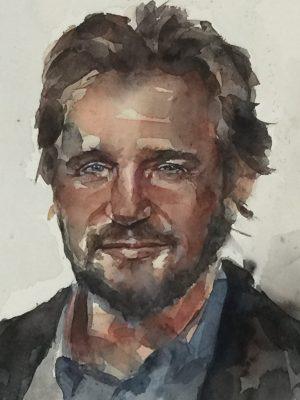 Retrato en acuarela de Liam Neeson.