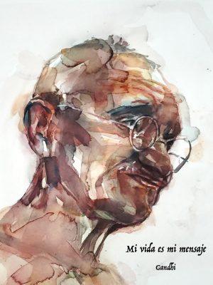 Acuarela de Mahatma Gandhi