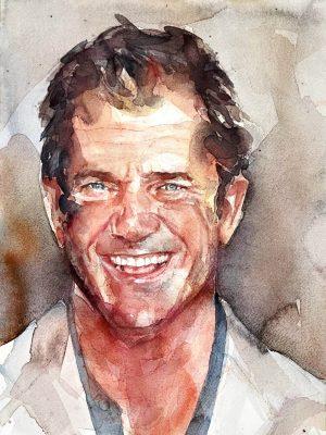 Acuarela de Mel Gibson