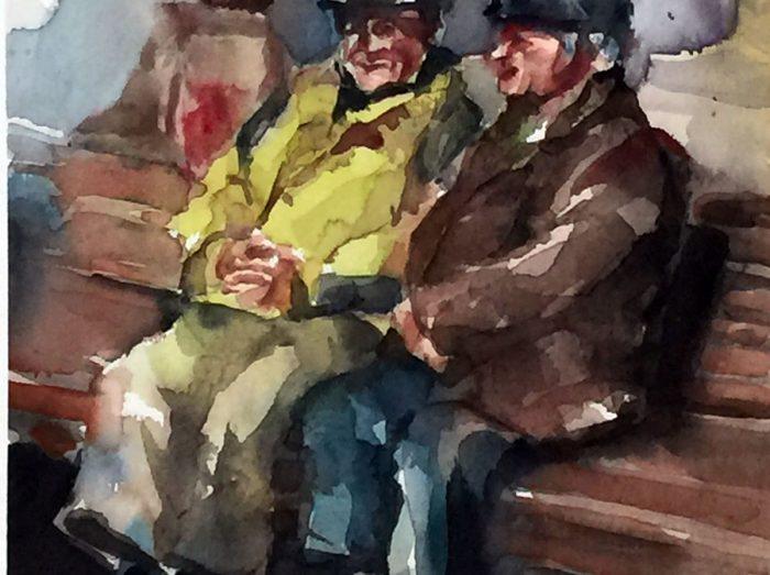Acuarela de dos señores mayores sentados en un banco