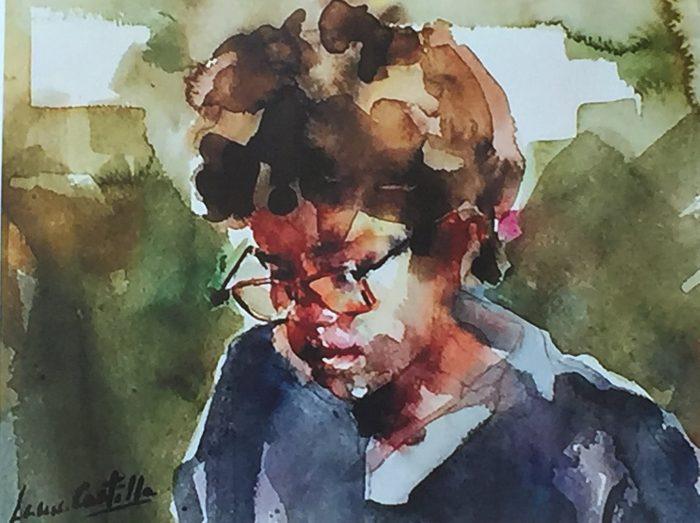 Acuarela de un niño con gafas