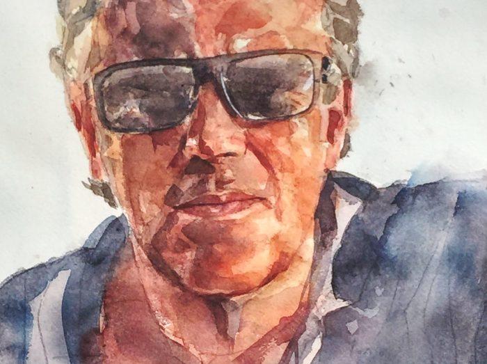 Acuarela de un hombre con gafas de sol