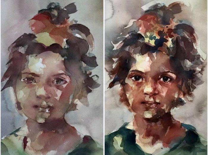 Boceto y retrato en acuarela