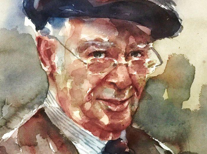 Acuarela de un retrato de un señor con una boina