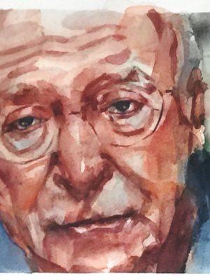 Retrato en acuarela de Michael Caine