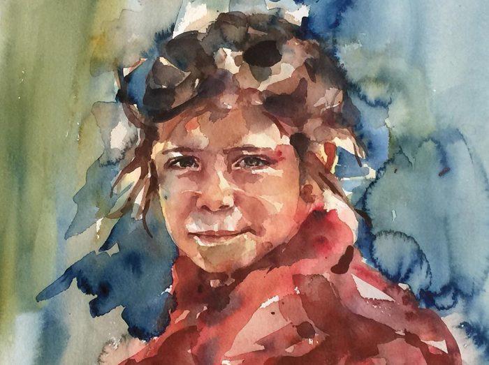 Acuarela del rostro de una niña con un vestido rojo