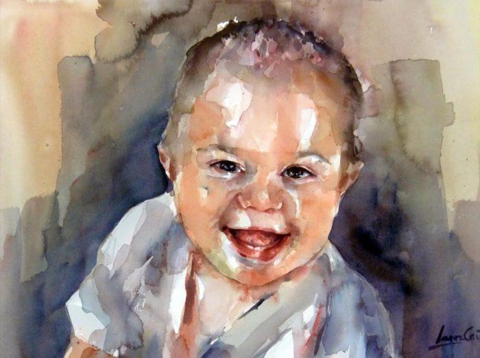 Acuarela de un bebe muy sonriente