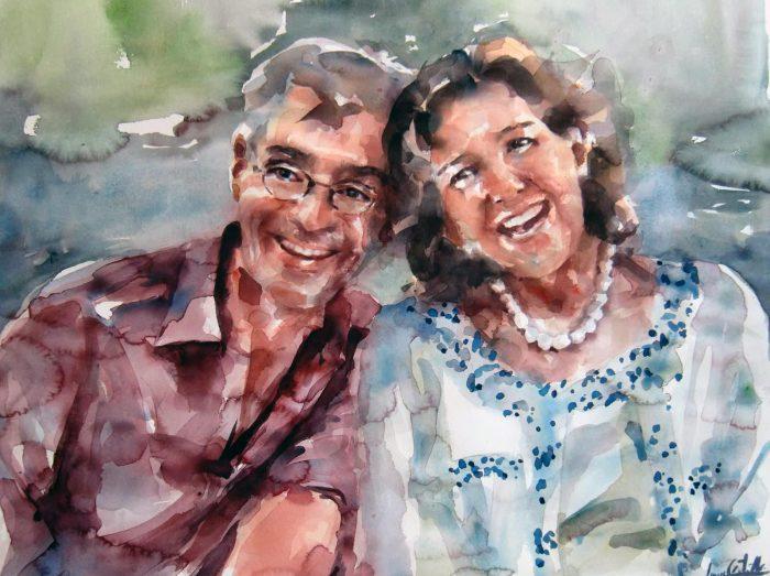 Acuarela de una pareja, los dos son muy sonrientes.