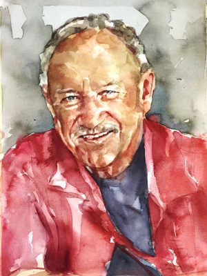 Retrato en acuarela de Gene Hackman