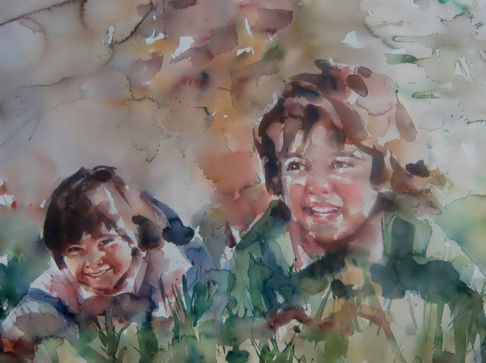Acuarela de dos niñas jugando en la hierba