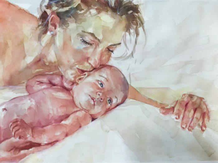 Acuarela de una madre dando un beso a su recién nacido.