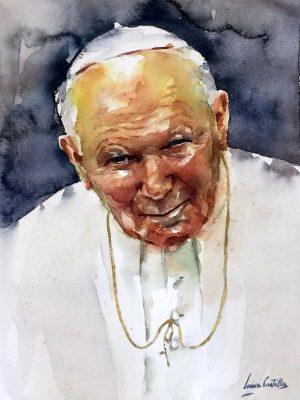 Retrato en acuarela de Karol Wojtyla, Juan Pablo II