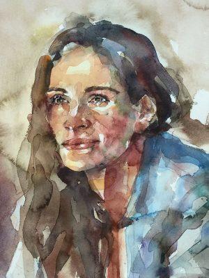 Retrato en acuarela de Julia Roberts