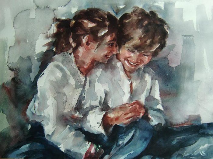 Acuarela de una pareja de niños