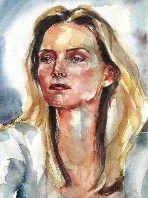 Retrato en acuarela de Michelle Pfeiffer