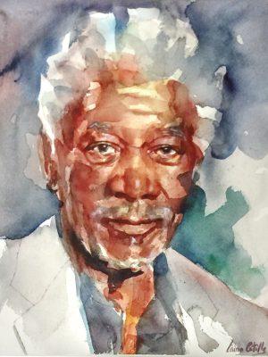 Acuarela del actor Morgan Freeman