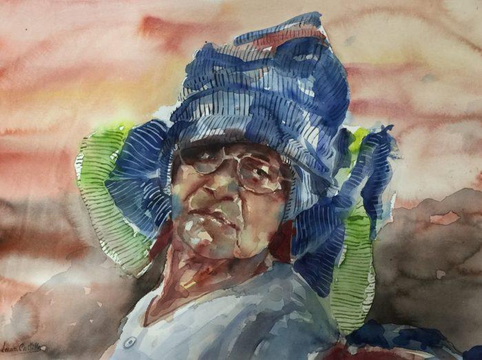 Retrato en acuarela de mujer vietnamita