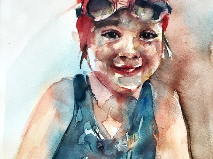 Acuarela de una niña lista para su primer día de natación