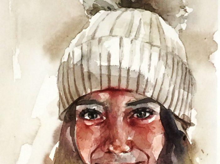 Retrato en acuarela de niña con gorro