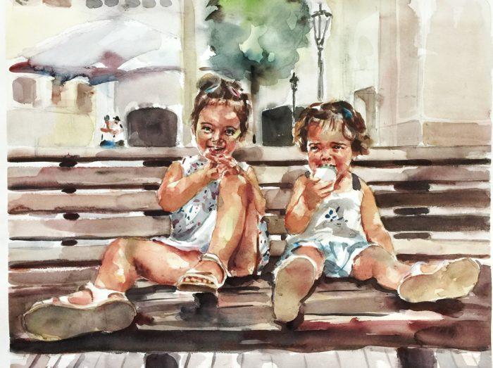 Acuarela de unas niñas en un banco