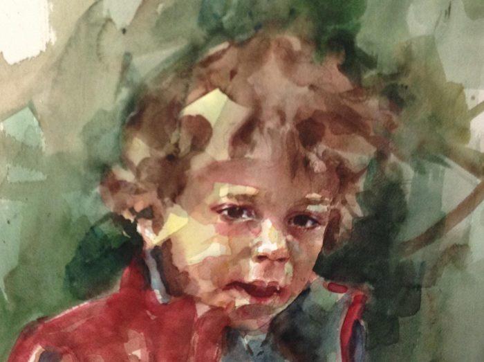 Acuarela de un niño con un chaqueta roja