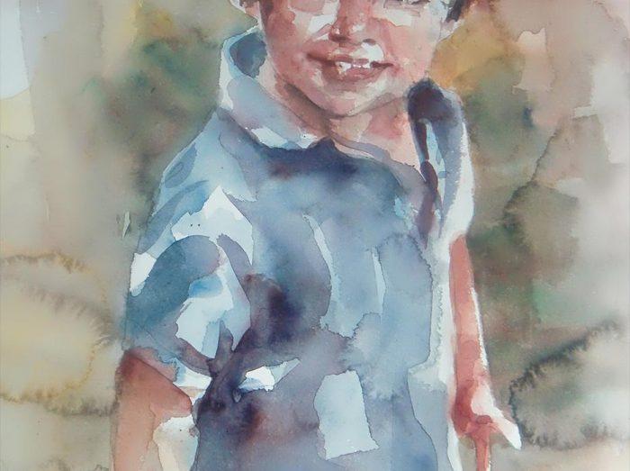 Acuarela de un niño sonriendo