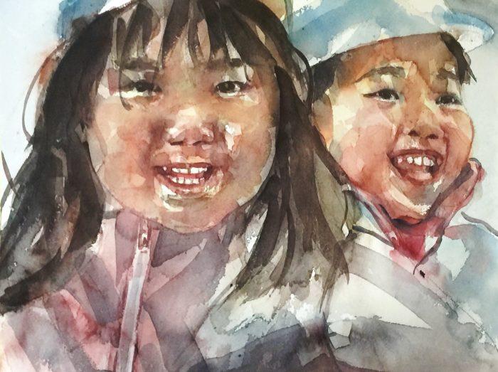 Acuarela de unos niños asiaticos