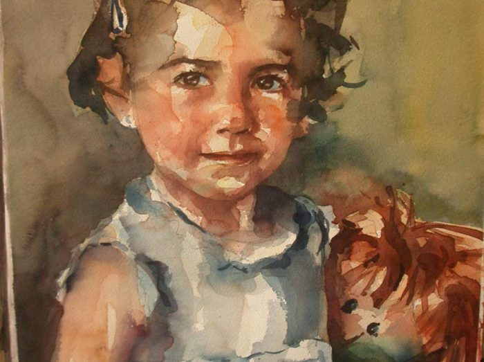 Acuarela de una niña posando