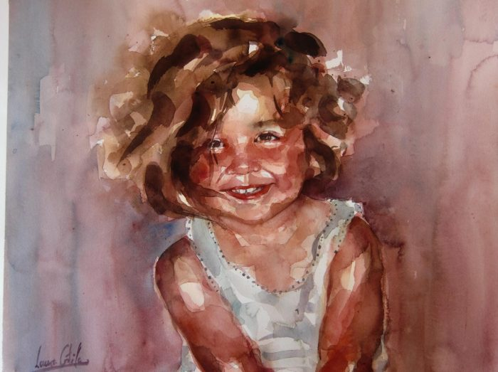 Acuarela de una niña muy sonriente