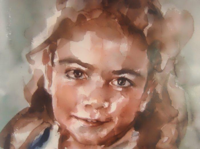 Acuarela de una niña con un lazo en los papeles