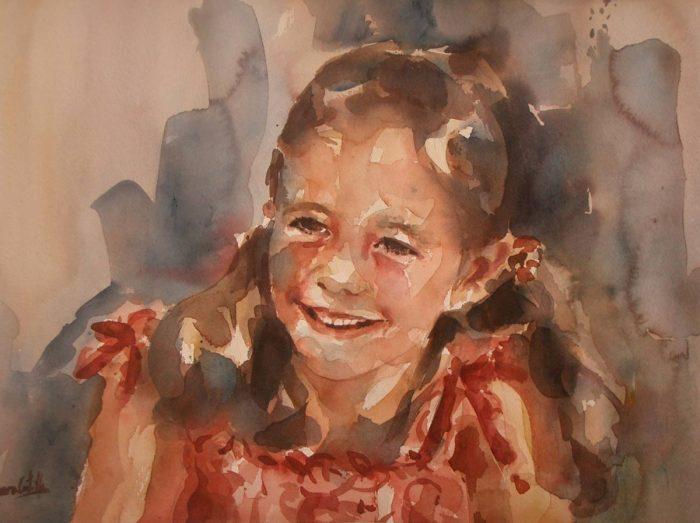 Acuarela de una niña sonriendo