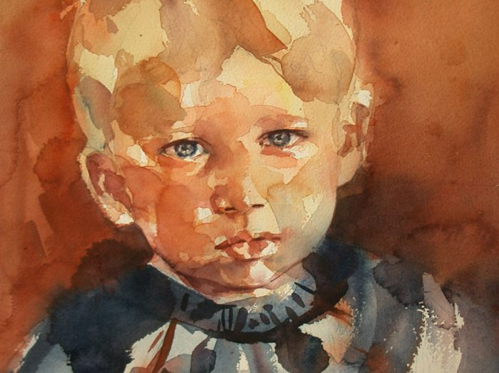 Acuarela de un niño rubio
