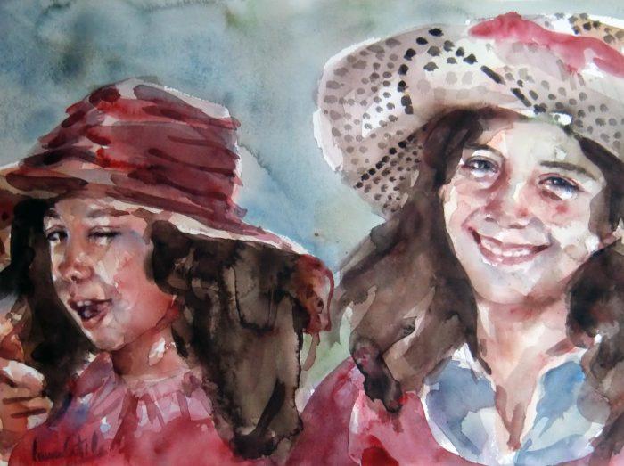 Acuarela de dos niñas jugando con sombreros