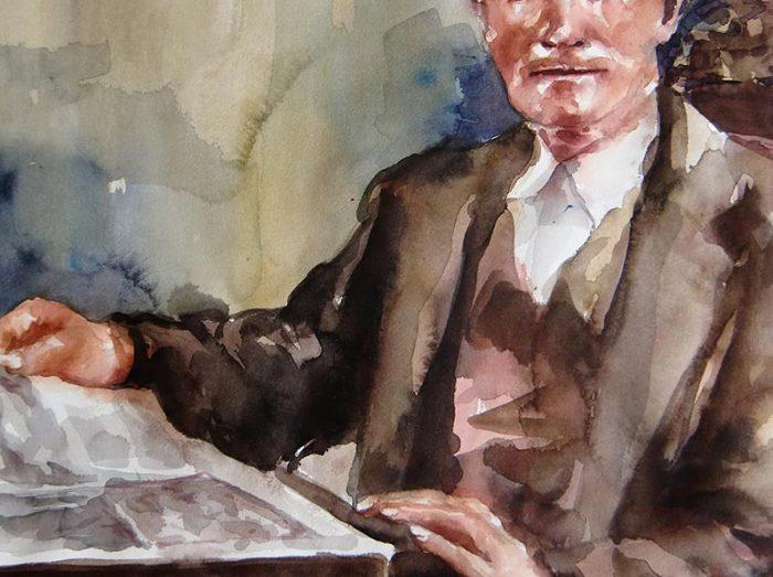 Acuarela de un señor leyendo un periodico
