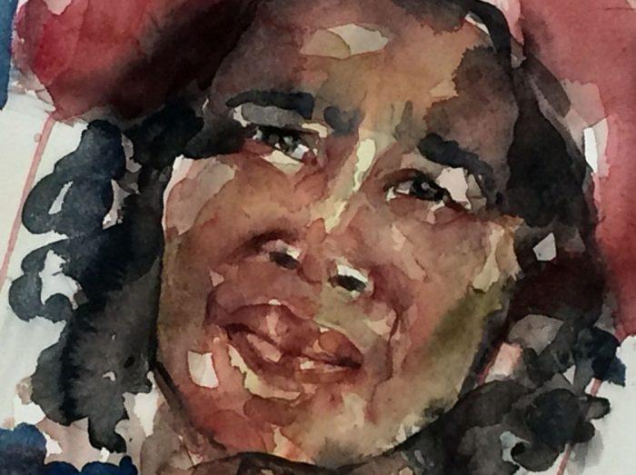 Acuarela del rostro de una mujer negra