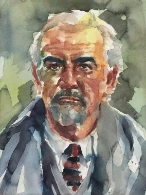 Acuarela de Sean Connery