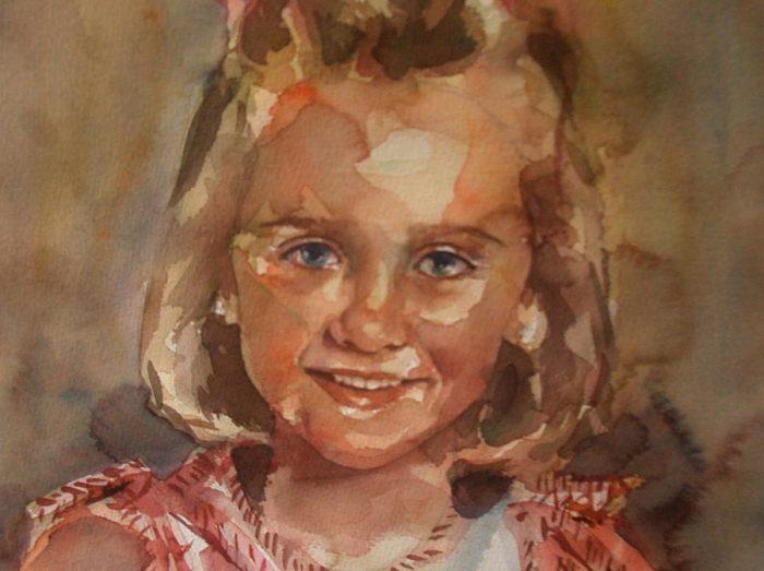 Acuarela de una niña rubia sonriendo