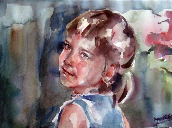 Acuarela de una niña rubia