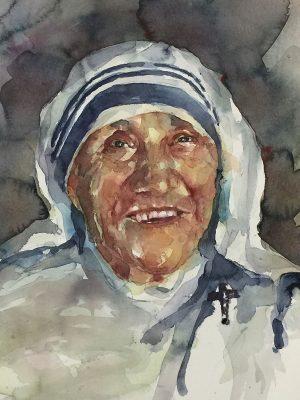 Acuarela de la madre Teresa de Calcuta